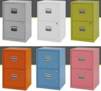 Steel Metal Filing Cabinet 2 Drawer A4 Office Storage Industrial Lockable Home • 59.99£