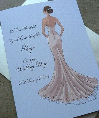£4.99 • Buy  Handmade Personalised Wedding Card.. Bride To Be On Your Wedding Day Size C5