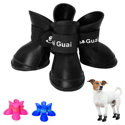 £6.08 • Buy Waterproof Dog Shoes Boots Booties Anti-slip Protective Rubber Snow Rain Shoes