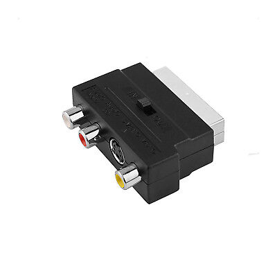 SCART To 3 RCA Composite Phono SVHS S-Video Adaptor With In Out Switch Converter • 3.89£