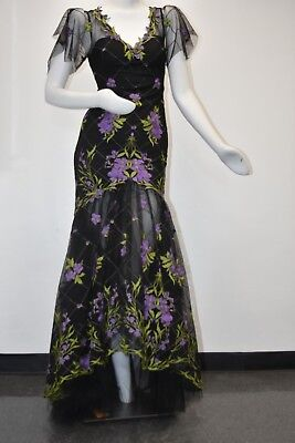 $1295 NEW Marchesa Notte High Low ILLUSION Tulle Gown Dress Black Purple Green 6 • 285.89£