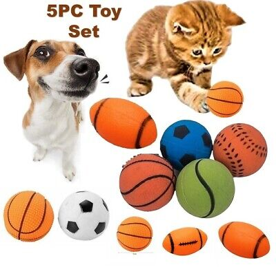 5Pc Dog Rubber Ball Tough Fetch Toys Treat For Pet Soft Rubber  • 4.95£
