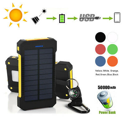 AU19.39 • Buy 50000mAh Solar Power Bank 2 Dual USB External Battery Charger LED IPhone Samsung