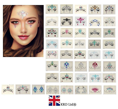 £3.08 • Buy ADHESIVE FACE CHEST GEMS Glitter Jewel Tattoo Sticker Festival Party Body Makeup