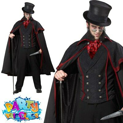Jack The Ripper Costume Mens Victorian Halloween Vampire Fancy Dress Outfit • 46.99£