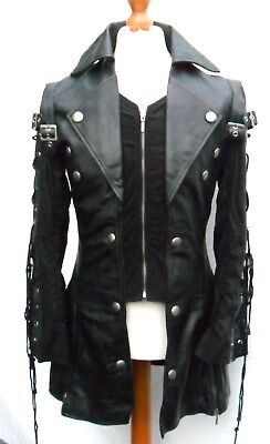 Mans Mens 100% REAL LEATHER Black Steampunk Jacket Coat  GOTH PUNK EMO ROCK • 112.70£