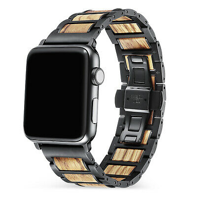 $ CDN41.94 • Buy Stainless Steel Apple Watch Band With Wood Band For IWatch Series 6/SE/5/4/3/2/1