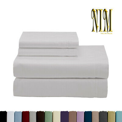 AU37.50 • Buy Luxury Soft 4pcs 2700 TC Fitted SHEET SET DOUBLE QUEEN KING 40cm Pocket