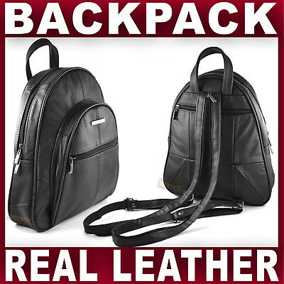 BLACK REAL LEATHER BACKPACK Small Rucksack Travel Shoulder Bag GENTS WOMENS NEW • 17.95£