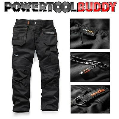Scruffs Trade Flex Work Trousers Black Various Sizes Slim Fit Stretch Fit BAY4 • 39.95£