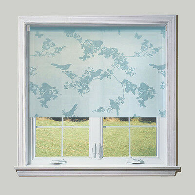Duck Egg Blue Birds Sheer Roller Blind - FREE CUT TO SIZE SERVICE • 15.99£