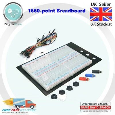£12.95 • Buy 1660 Point Solderless Prototyping Large Breadboard + 65pc Jumper Wires-  420 830