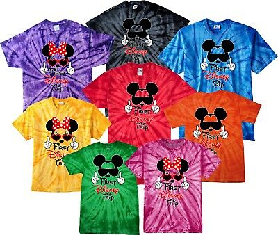 $16.99 • Buy Family VACATION First Trip Disney 2018 Mickey Minnie MATCHING Tie Dye T-Shirts