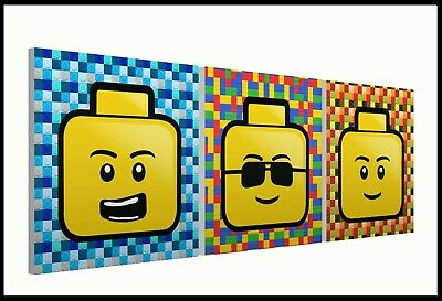 £26.99 • Buy Lego Heads - Set Of Three 9  Mounted Square Canvas Pictures Prints