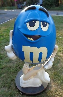 $350 • Buy Rare LARGE Blue M&M's Store Display Wheels 4' Tall Metal Base-Pick Up New Jersey