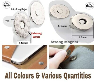 18/14mm Magnetic Button Snap Fasteners Closures Craft Purse Hat Bag Various Qnt • 1.97£