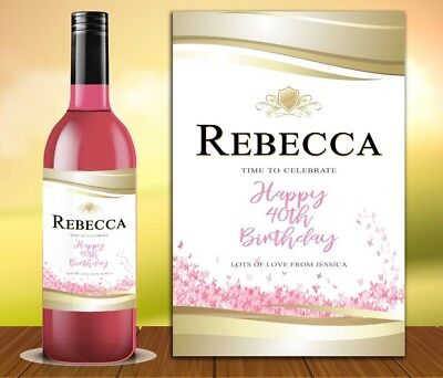 £2.95 • Buy Personalised Rose Wine Prosecco Bottle Label Birthday Any Occasion Details Ros1