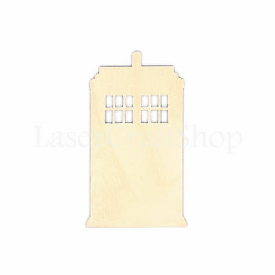 $8 • Buy Telephone Box Wooden Cutout Shape, Silhouette, Tags Laser Cut #1068