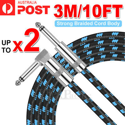 AU18.49 • Buy 10FT 3M Guitar Lead 1 Right Angle Jack Noiseless Braided Tweed Instrument Cable