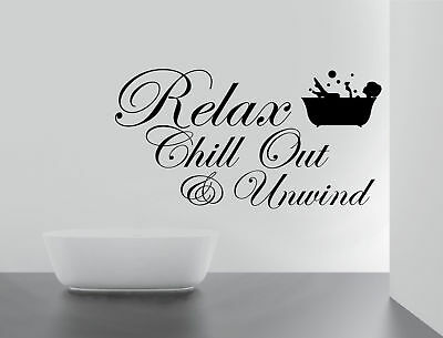 RELAX CHILL ENJOY UNWIND Quote Wall Stickers Art BATHROOM Removable Decals DIY • 3.59£