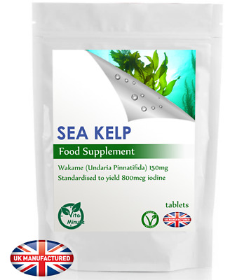 View Details Sea Kelp 150mg Tablets - High Iodine 800mcg - Thyroid, Hair Skin Support (V), UK • 2.89£