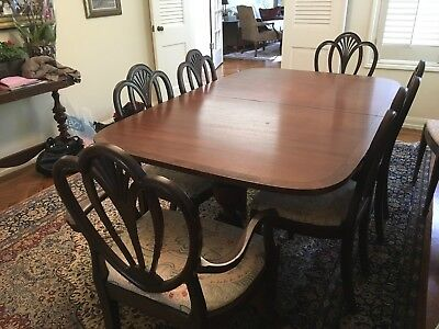 $2200 • Buy Dining Room Table With 8 Chairs. Old English Mahogany, Expandable With 3 Leaves.