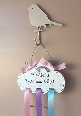 Personalised Magical Sparkly Rainbow Cloud Sign Hair Clip Bow Holder Organiser • 7.20£