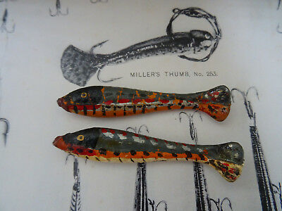 $83.41 • Buy A Pair Of Scarce Vintage Gutta Percha Miller's Thumb Fishing Lures