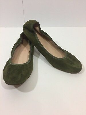 f8895aa551e J CREW Womens Cece Ballerina Olive Green Suede Leather Flats Made N Italy  Sz 5.5 •