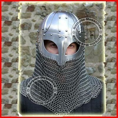 Medieval Viking Helmet Battle Armor 18 G Steel And Chain Mail • 74.99£