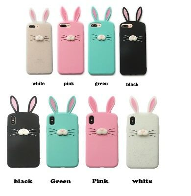 3D Bunny Ears Protection Skin Soft Case For Iphone 5/5se 6/7/8 Plus Xs Max Xr • 5.65£