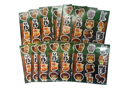 12 Sheets WOODLAND ANIMAL Stickers  Childrens  Party Bag Fillers Kids Craft Toys • 2.49£