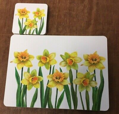 £12.99 • Buy 4 Of Each Daffodil Placemats & Coasters Set  - Yellow Flower Table & Drink Mats