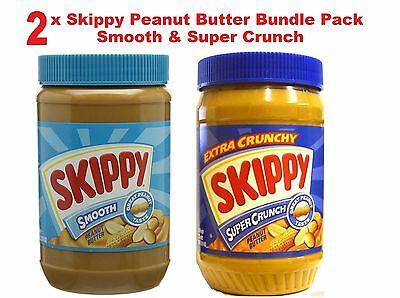 £24.99 • Buy Skippy American Peanut Butter AND Super Crunch & Smooth 1.13kg Family Jars