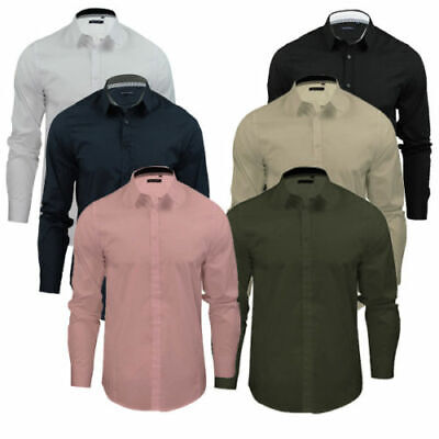 £9.99 • Buy Men Work Shirt Smart Casual Formal Long Sleeve Fitted Top Brave Soul XL L M S