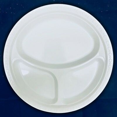 £5.99 • Buy  New 3 Section Compartment 10  Plastic White Plates Party Disposables Strong