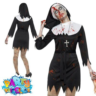 Adult Zombie Sister Nun Costume Ladies Halloween Horror Fancy Dress Outfit • 13.49£