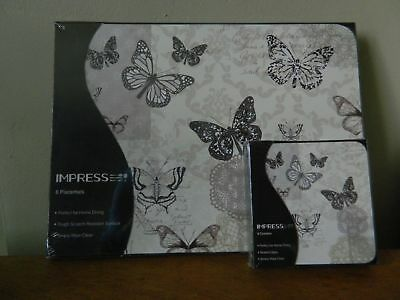 6 Dining Placemats & Coasters Tablemats Dining Butterfly Lace Paris Wildlife • 6.99£