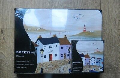 £15.99 • Buy 6 Dining Table Placemats & Coasters Dining Lighthouse Harbour Seafront Nautical
