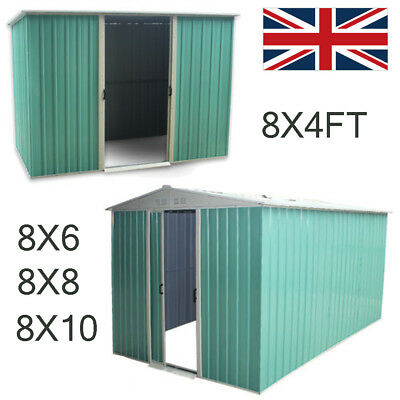 New Metal Garden Shed Storage 2 Door Pent Roof W/ Free Base Foundation Outdoor • 369.99£