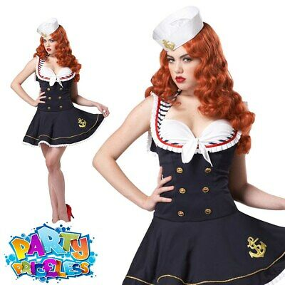 Nautical Doll Sailor Girl Costume Ladies Sexy Navy Fancy Dress Outfit • 22.99£