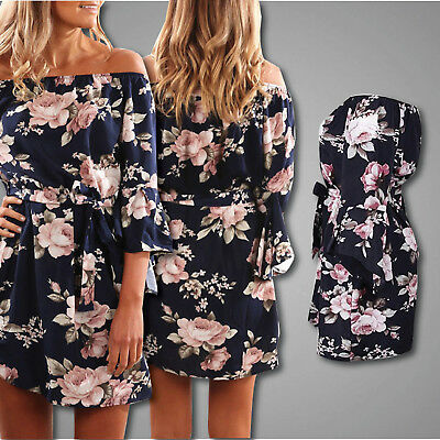 AU16.04 • Buy Summer Floral Off The Shoulder Beach Dress Long Butterfly Sleeve Navy Blue Dress
