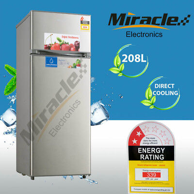AU399 • Buy Brand New Miracle 208L Top Mount Freezer Fridge Stainless Steel Outlook