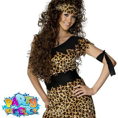 £8.79 • Buy Ladies Cavewoman Costume Cave Girl Leopard Print Womens Fancy Dress Outfit