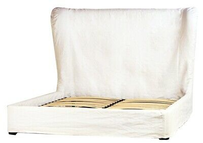 $ CDN4174.03 • Buy 81  Libero Bed Queen Wood Frame White Linen Slip Cover Rustic