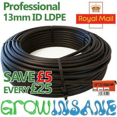 Black LDPE Supply Pipe 13mm ID (1/2) Inch Irrigation - Garden Watering Tube • 7.95£