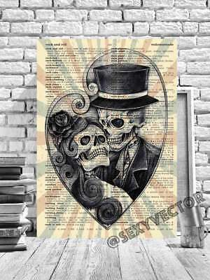 Day Of The Dead Skull Framed Canvas Picture Gothic Artwork Book Page Art #165 • 24.99£