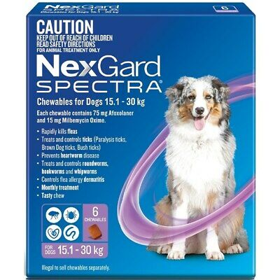 AU134.99 • Buy Nexgard Spectra Purple For Large Dogs 15.1-30kg 6 Pack
