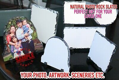 Personalised Natural Rock Slate Custom Photo Image Picture Frame / Coaster Gift • 5.99£
