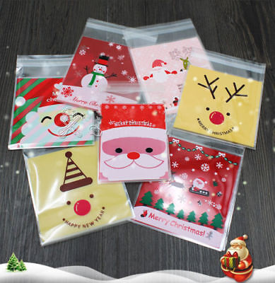 £1.99 • Buy 100 Christmas Cellophane Treat Bags Sweet Biscuit Cookie Cello Party Favour Gift